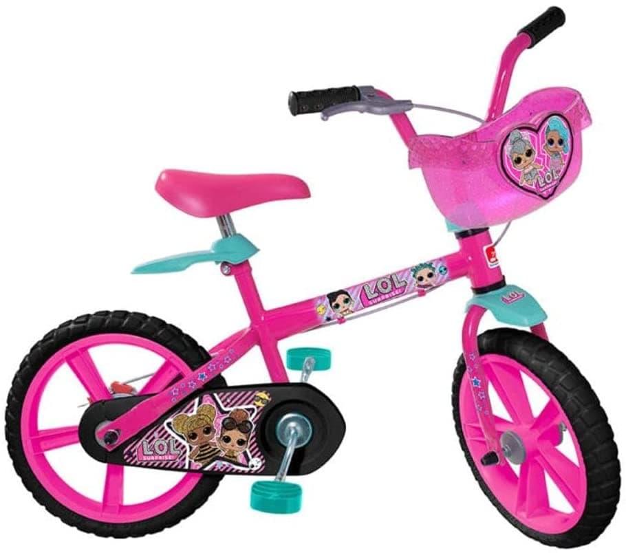 Bicicleta Aro 14 LOL, Bandeirante, Rosa