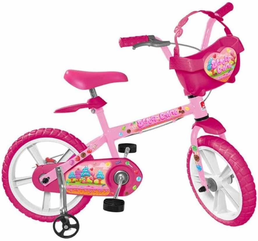 Bicicleta infantil Aro 14 Sweet Game, Bandeirante, 3030, Rosa