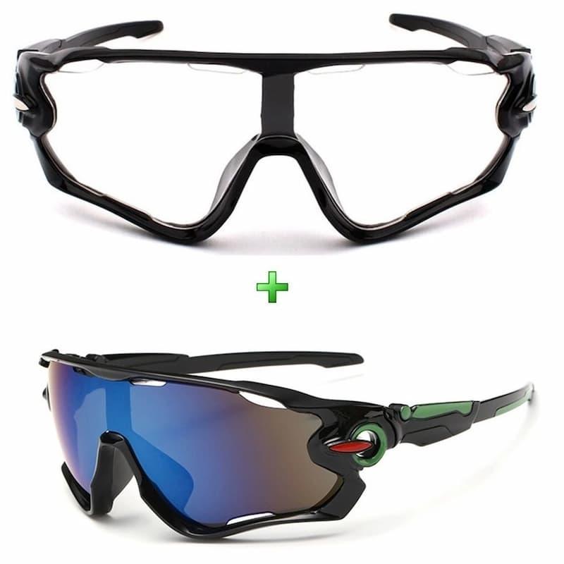 Óculos De Sol Ciclismo Espelhado + Noturno Kit 2 Unidades